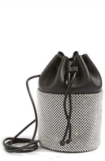 Topshop Ruben Diamante Faux Leather Bucket Crossbody Bag - Metallic
