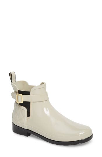 Hunter Original Refined Quilted Gloss Chelsea Boot, White