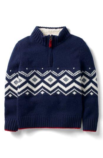 Boys Mini Boden QuarterZip Pullover Wool Sweater