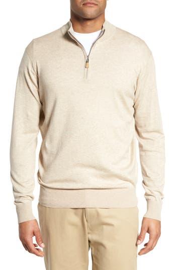 Mens Peter Millar Crown Soft QuarterZip Pullover Size Large  Beige