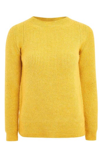 Women's Topshop Ribbed Crewneck Pullover, Size 4 US (fits like 0-2) - Yellow