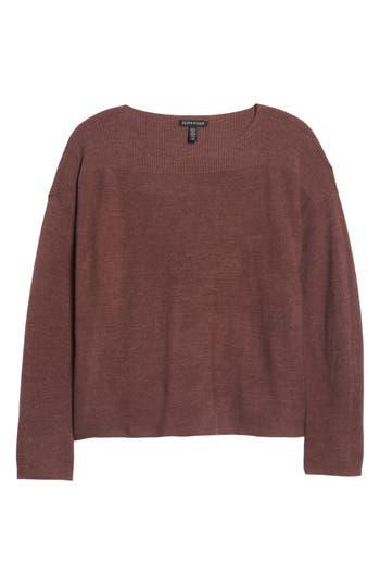 Eileen Fisher Mix Stitch Merino Bateau Neck Sweater, Brown