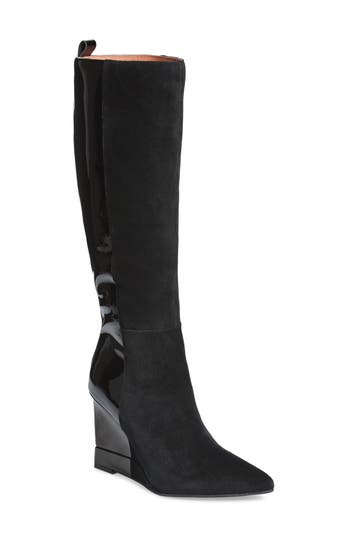 Jeffrey Campbell Rosalva Knee High Wedge Boot, Black