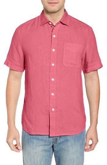 Men's Tommy Bahama Seaspray Breezer Regular Fit Linen Sport Shirt, Size Large - Pink