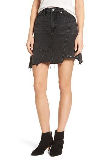 Blanknyc High Rise Asymmetrical Denim Miniskirt, Black