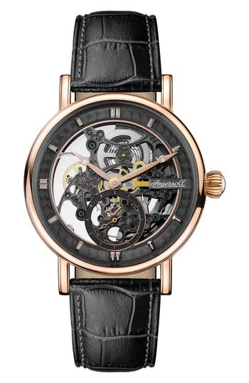 Ingersoll Herald Automatic Skeleton Leather Strap Watch, 40mm