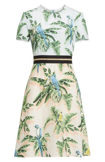 Stella Mccartney Bird Of Paradise Silk Crepe De Chine Dress, 48 IT - Blue