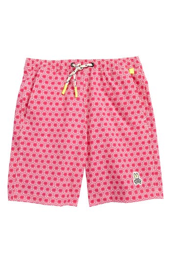 Boy's Psycho Bunny Honeycomb Board Shorts, Size XS (5-6) - Red