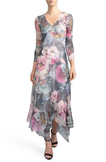 Komarov Handkerchied Hem Floral Maxi Dress, Blue