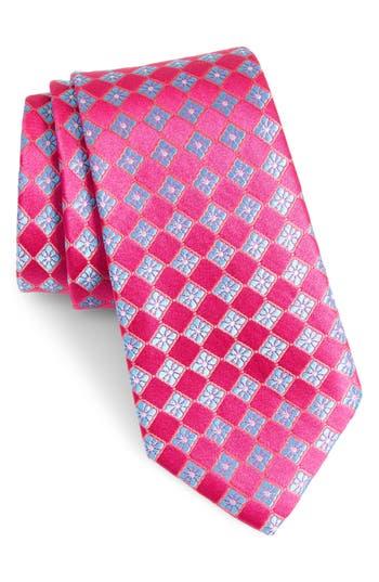 Men's Nordstrom Men's Shop Floral Squares Silk Tie, Size Regular - Pink