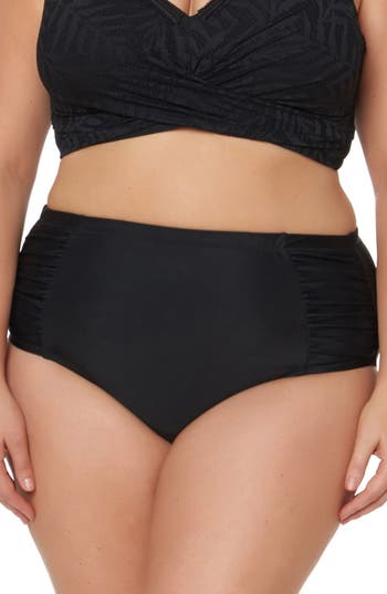 Plus Size Jessica Simpson Shirred High Waist Bikini Bottoms, Black