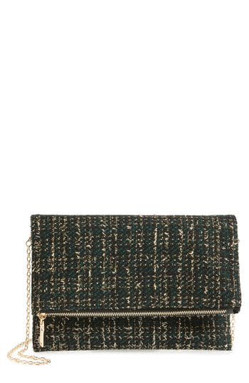 Sole Society Tweed Foldover Clutch - Black at NORDSTROM.com