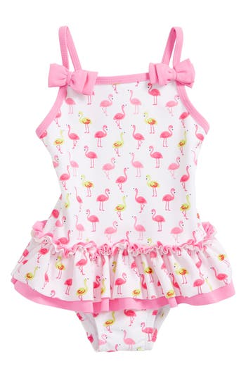 Infant Girl's Little Me Flamingo Print One-Piece Swimsuit, Size 6-9M - White