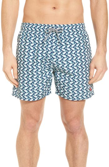 Ted Baker London Loxham Fish Geo Print Swim Short, Blue