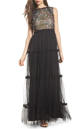 Adrianna Papell Embroidered Tiered Tulle Gown, Black