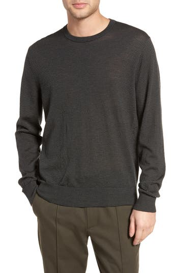 Vince Regular Fit Pinstripe Wool Sweater, Blue