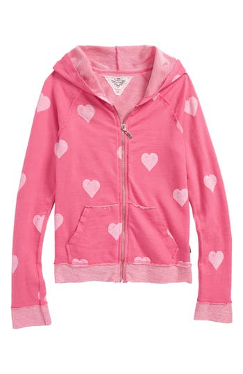 Girl's T2 Love Allover Heart Zip Hoodie, Size 8 - Pink