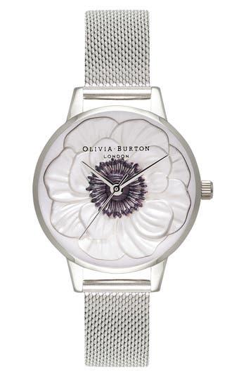 Women's Olivia Burton 3D Anemone Mesh Strap Watch, 30Mm