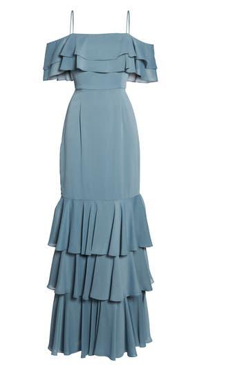 Wayf Lauren Off The Shoulder Tiered Gown, Grey