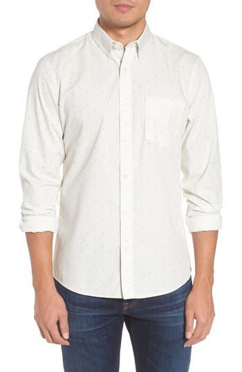 Nordstrom Shop Trim Fit Non-Iron Dobby Sport Shirt, Ivory