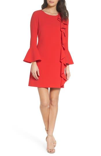 Women's Chelsea28 Ruffle Shift Dress, Size 0 - Red