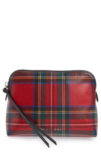 Burberry Laminated Tartan Pouch - Red