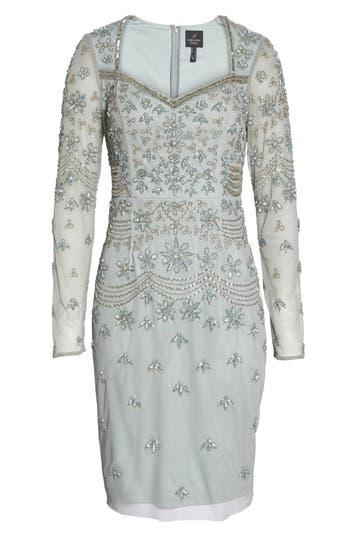 Adrianna Papell Beaded Mesh Sheath Dress, Blue