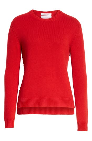 Women's Valentino Rockstud Cashmere Sweater, Size X-Small - Red