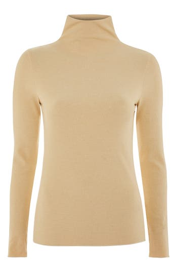 Women's Topshop Boutique Rib Funnel Neck Top, Size 12 US (fits like 14) - Beige
