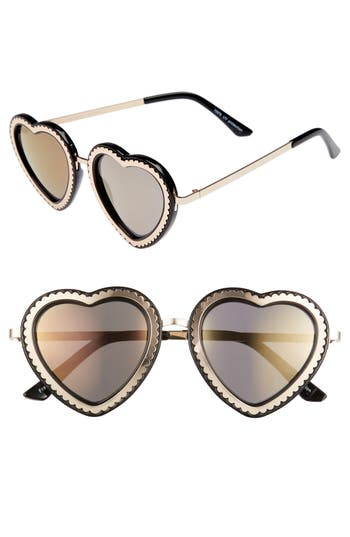 Women's Glance Eyewear 61Mm Mirrored Heart Sunglasses - Gold/ Black