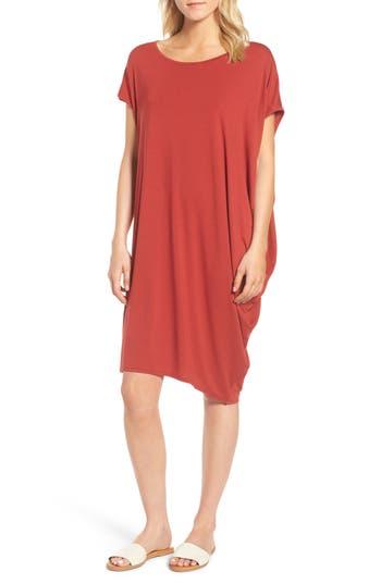 Eileen Fisher Asymmetrical Jersey Shift Dress, Red