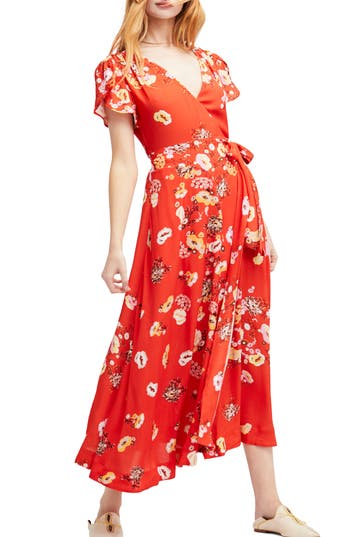 Women's Free People Gorgeous Jess Wrap Maxi Dress, Size X-Small - Red