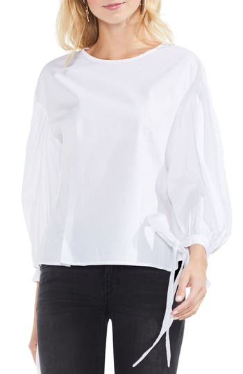 Women's Vince Camuto Tie Cuff Bubble Sleeve Poplin Blouse, Size XX-Small - White