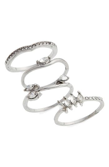 Women's Topshop Petal Set Of 4 Stackable Rings