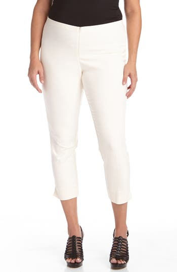 Plus Size Karen Kane Stretch Capri Pants, White