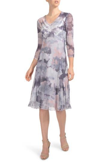 Komarov Chiffon & Charmeuse A-Line Dress