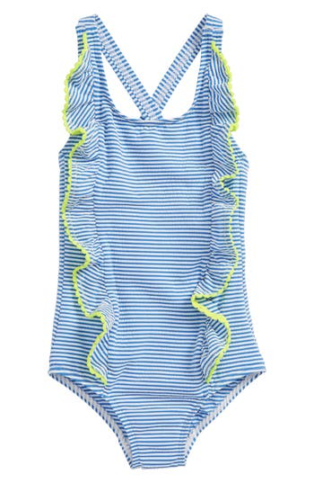 Girl's Mini Boden Stripe Ruffle One-Piece Swimsuit, Size 4-5Y - Blue