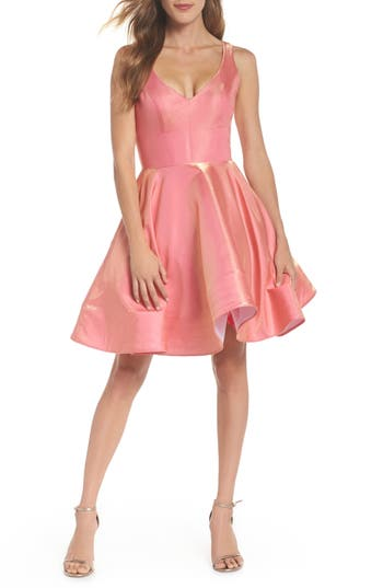 Women's Xscape Shimmer Fit & Flare Dress, Size 6 - Pink