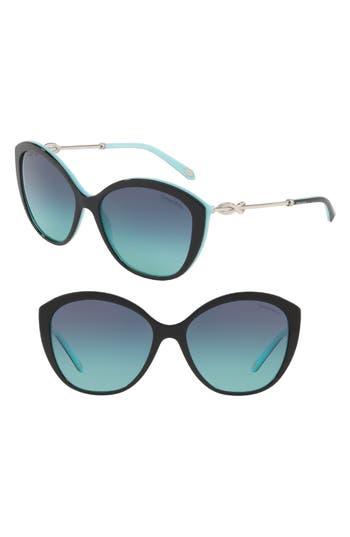 TIFFANY & CO TIFFANY 57MM CAT EYE SUNGLASSES - BLACK/ BLUE GRADIENT