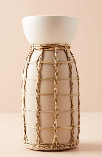 anthropologie wicker pillar candleholder, size medium - ivory