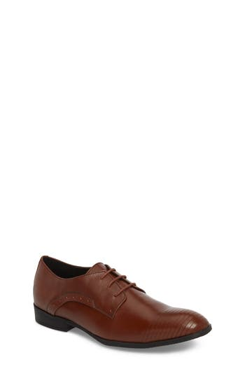 Boys Reaction Kenneth Cole Straight Line Derby Size 4.5 M  Brown