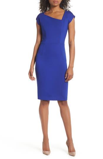 women's french connection lula sheath dress, size 12 - blue