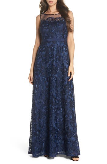 Adrianna Papell Flower Embroidered Gown, Blue