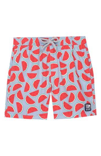 Boys Tom  Teddy Watermelon Print Swim Trunks Size 910Y  Red