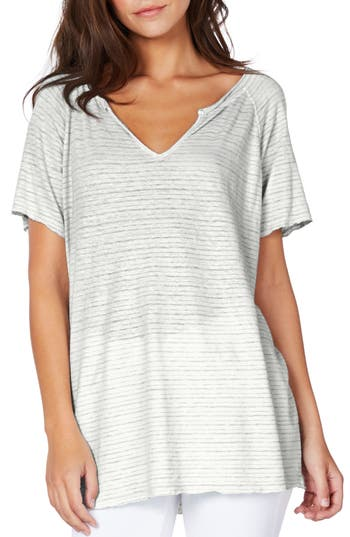 Michael Stars Split Neck Stripe Tee, Size One Size - White