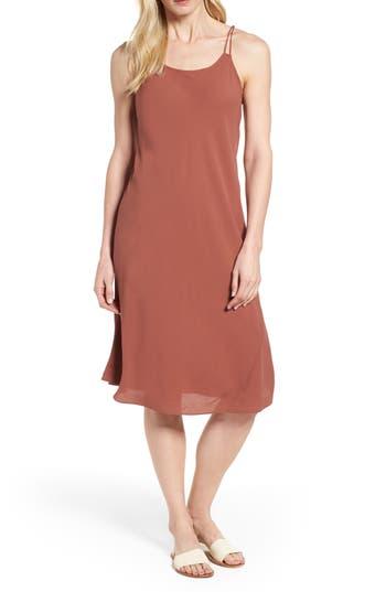 Eileen Fisher Double Strap Silk Slipdress, Brown