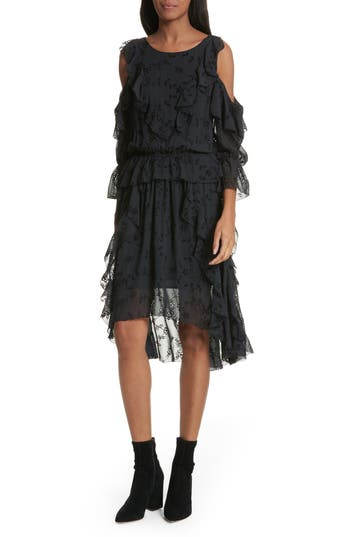 Joie Alpheus Cold Shoulder Ruffled Silk Dress, Black