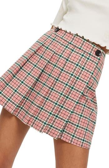 Topshop Summer Check Kilt Miniskirt, US (fits like 0) - Pink