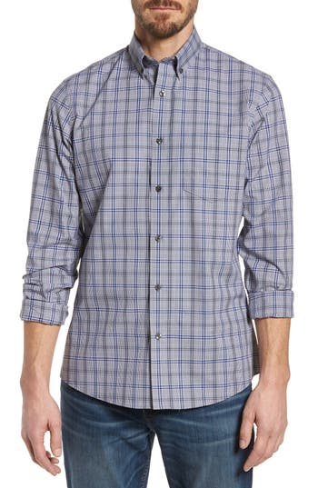 Big & Tall Nordstrom Shop Regular Fit Non-Iron Plaid Sport Shirt, Grey