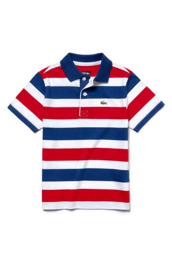 Boys Lacoste Stripe Jersey Polo